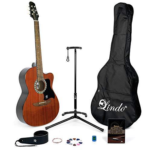 Lindo 931C/WA Akustikgitarre zum Lernen, mit Zubehörset bestehend aus Tasche, Ständer, Saiten, Gurt, 10 Plektren, englischsprachiger DVD, englischsprachigem Buch, Stimmer, Mahagoni