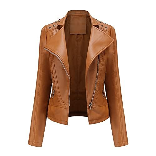 Krótka skórzana kurtka damska wykonana ze skóry syntetycznej z zamkiem błyskawicznym na zewnątrz jesienno-wiosenna kurtka o regularnym kroju kurtka przejściowa (Color : Brown, Size : XX-Large)