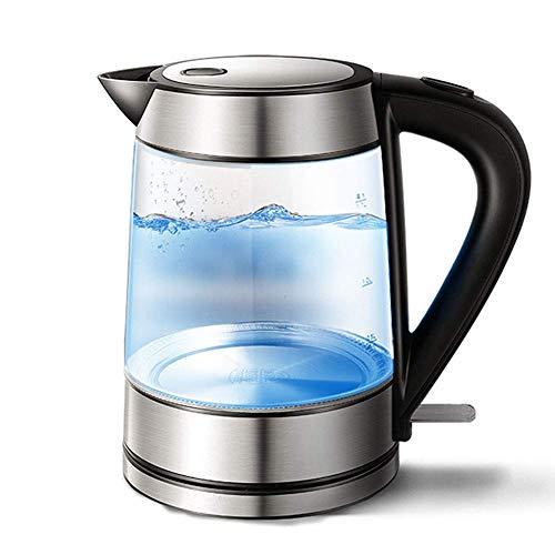 AABBC Hervidor eléctrico de Vidrio, hervidor de Agua ecológico de 1,7 l, hervidor de Agua inalámbrico sin BPA con Tapa Interior y Fondo de Acero Inoxidable, protección de Apagado automático y Seca