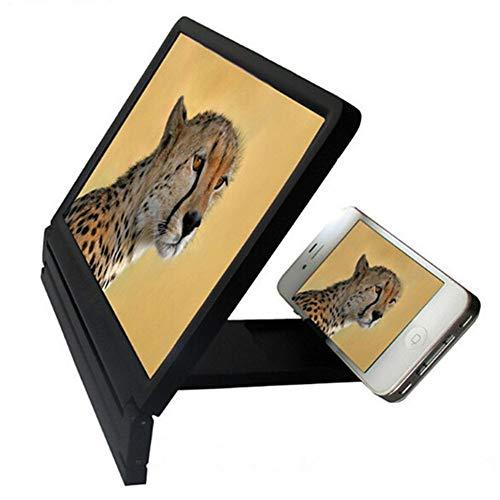 Tancurry Neue Zusammenklappbar 3D Bildschirm Handy Lupe Smartphone Display Vergrößerungsfolie Handy Ständer (Schwarz)