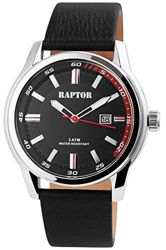 Raptor Herren-Uhr Echt Leder Armband Leuchtende Zeiger Analog Quarz RA20287 (schwarz/schwarz)