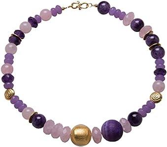 Collar con cadena de cuarzo rosa, amatista, ágata de serpiente, cristal de Murano, joyería de diseño, chapado en oro, piedras preciosas, hecho a mano