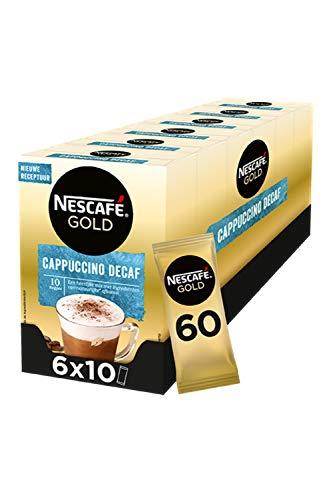 Nescafé Gold Cappuccino decafe ongezoet oploskoffie – 6 doosjes à 10 zakjes