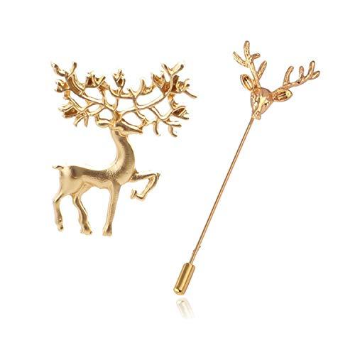 PPX 2 Piezas Vintage Retro Golden Tone Deer Antler Stag Moose Elk Head Animal Lapel Broche para Mujeres Hombres-Oro