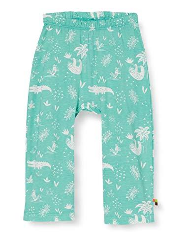 loud + proud Mädchen Pant Allover Print Organic Cotton Hose, Grün (Mint Min), (Herstellergröße: 74/80)