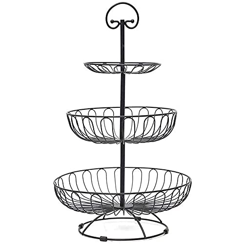 Apark Obst Etagere - 40 cm Obstkorb für mehr Platz auf der Arbeitsplatte - Obstschale Metall als dekorativer Hingucker in Ihrer Landhaus-Küche, 3 Ablagekörbe, 30 cm, 24 cm, 16cm (Schwarz)