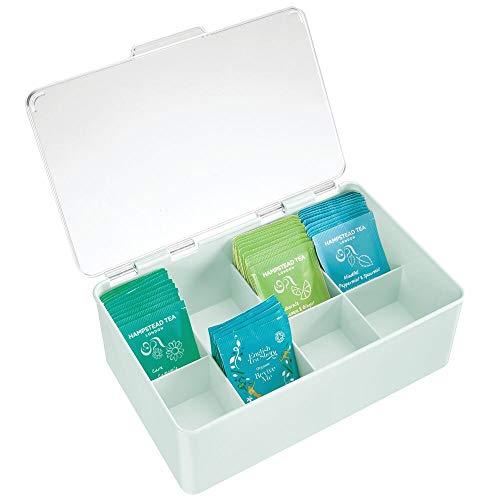 mDesign Teebox mit Deckel – praktischer Teekasten zur Aufbewahrung von Teebeuteln, Kaffee-Pads und Co. – Moderne Teebeutelkiste aus Kunststoff – mintgrün/durchsichtig