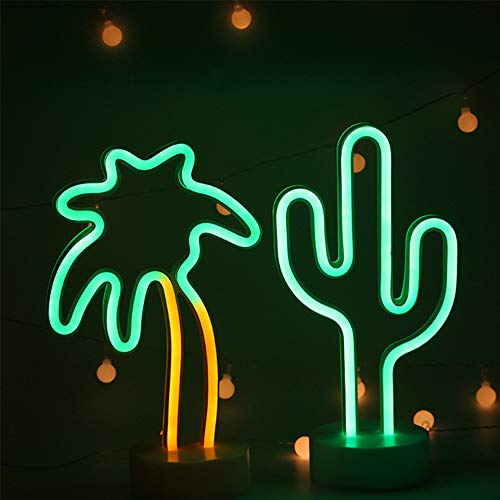 ENUOLI Neon Light Combination Green Cactus and Palm Tree Neon Light Signs USB/Battery Operated Neon Lamp Bar Signs for Bar Neon Night Light for Home Wedding Party Christmas Decoration