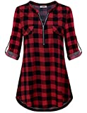 Going Out Tops for Women, Oversized Fall Spring Clothing V Neck 3/4 Rolled Sleeve Round Hem Hipster Trapeze Flowy Tunic Shirt Fall Autumn Blouse Buffalo Plaid 3XL