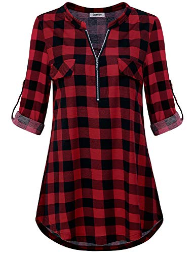 Loose Fitting Tops for Women, Female Loft Clothes Zip Up V Neck Roll Up Long Sleeve A Line Blouse Simple Cozy Lightweight Polyester Color Block Plaid Printed Tunic T Shirts Black Red XL