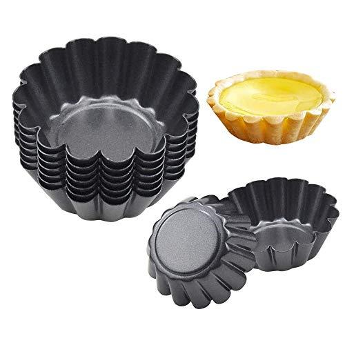 Gobesty Ei Tarteform, 12 Stück Metall Cupcake Muffin Form Chrysanthemum Muster Eierkuchenform Antihafte Mini Backform für Pudding, Kuchen, Cupcake, Muffin