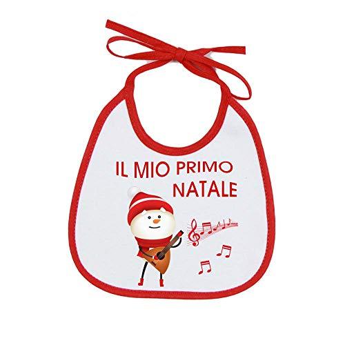 Bavetta Neonato ANGEL'IL MIO PRIMO NATALE' Bavetta Natalizia Cotone 100% Made in Italy (PUPAZZO CHITARRA)