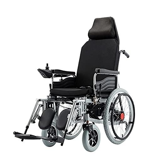 BSJZ Scooter portátil para Silla de Ruedas eléctrica para Personas Mayores, Respaldo Alto Que Puede recostarse Completamente Batería de Plomo-ácido 12A Rueda Delantera AB