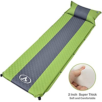 "charaHOME Camping Sleeping Pad Self-Inflating with Attached Pillow Compact Camping Mat Lightweight for Backpacking Hiking Inflatable Waterproof Sleeping Mat for Outdoors 2"" Extra Thick"