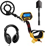 URCERI GC-1028 Metal Detector with All Metal and DISC Modes, P/P Function, High Sensitive, Waterproof Coil, Folding Shovel, Carry Bag and Headphone for Children Adults Beginners to Hunt Treasure Gold