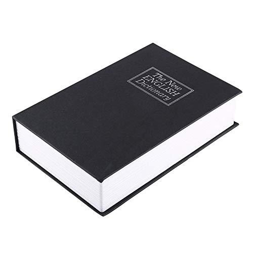 Kluis, Engelse woordenboek, opbergdoos voor portemonnee, met 2 sleutels, zwarte kleur, te gebruiken op de massa, zoals thuis, op kantoor, in bedrijf 24 x 15,5 x 5,5 cm.