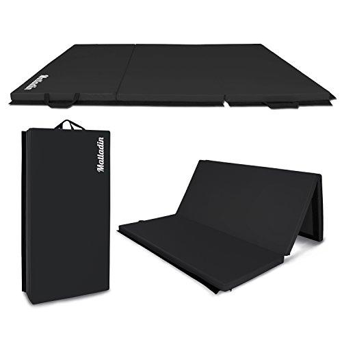 Matladin 6' Folding Tri-fold Gymnastics Gym Exercise Aerobics Mat, 6ft x 4ft x 2in PU Leather Tumbling Mats for Stretching Yoga Cheerleading Martial Arts (Black)