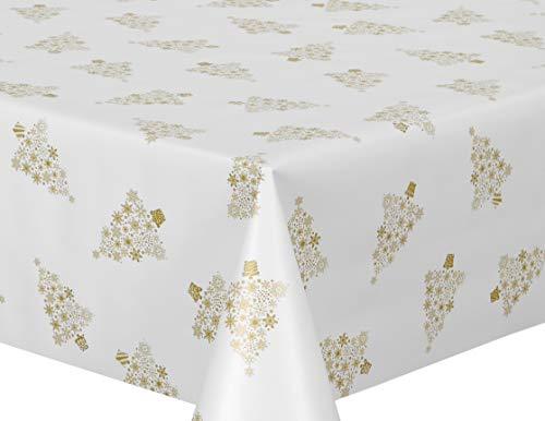 Beautex Wachstuchtischdecke abwischbar Tischdecke RUND ECKIG, Weihnachten Motiv und Größe wählbar (Weihnachtsbaum Weiss-Gold Eckig 140x100 cm)