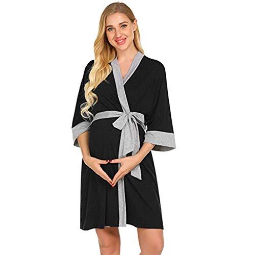 Lannister Maternity Peignoir Dress Pyjamas Vêtements Maternité De fête Robe de avec Dentelle Ceinture De Pyjama D Allaitement Robe De Nuit Robe De Maternité Mini Robe (Color : Schwarz, Size : L)