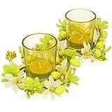 com-four® 2X Oster Teelicht - Oster-Deko mit Ostereier und Kunstblumen - Farbenfrohes Tischgesteck für Ostern und Frühling