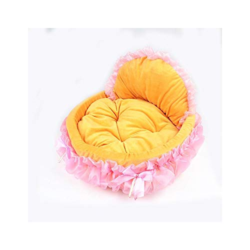 f5zhangdd Elegant Pet Dog Puppy Bed Princess Lace Lovely Cat Litter Bed Sofas House Kennels Teddy Chihuahua Nest for Small Medium Dogs,Yellow,56x53cm