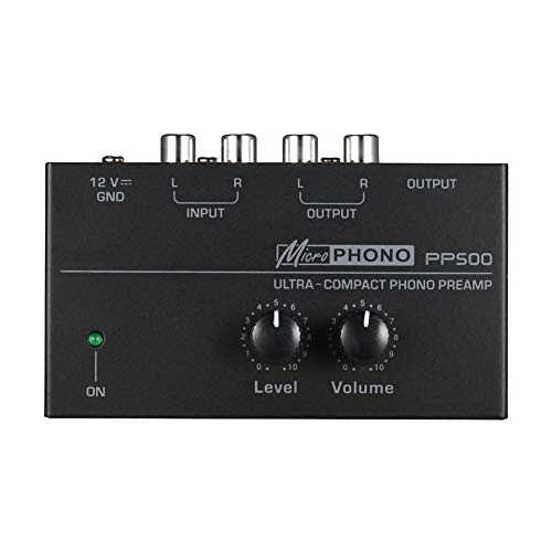 Preamplificador PP500 Controles volumen portátiles con nivel Metal Fonógrafo electrónico para el hogar Estéreo Phono Preamplificador Audio Placa interfaz ultra compacta Plataforma giratoria(Nosotros)