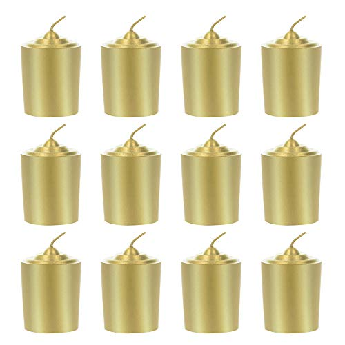Mega Candles 12 pcs Unscented Gold Votive Candle | Hand Poured Wax Candles 15 Hours 1.5' x 2.25' | for Home Décor, Wedding Receptions, Baby Showers, Birthdays, Celebrations, Party Favors & More