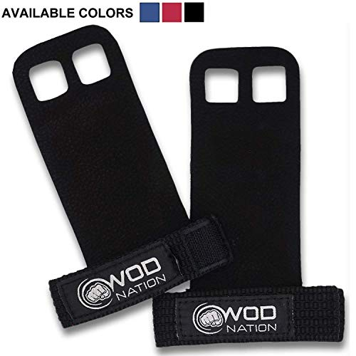 WOD Nation Leather Barbell Gymnastics Grips Perfect for Pull-up Training, Kettlebells, Gymnastic...