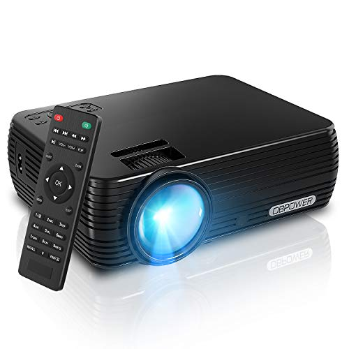 Projector, DBPOWER Mini Portable Video Projector 176 Display 50,000 Hours LED Full HD Projector 1080P 2018 Released, Compatible with HDMI VGA AV USB TF Amazon Fire TV Stick