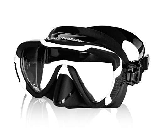 AQUAZON PRO, stylische Schorchelmaske, Schnorchelbrille, Schwimmbrille für Erwachsene, Größe Masken:Erwachsene/Senior, Farbe:schwarz-Weiss