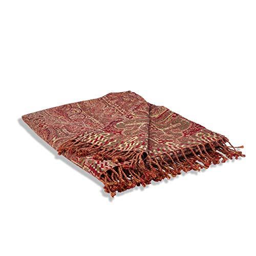 Loberon Plaid Nugère, Baumwolle, Wolle, H/B ca. 170/145 cm, Outdoor, Gartentextilien, rot