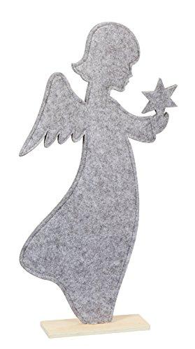 Time for Home Weihnachtsdeko Filz Engel mit Stern grau 52 cm Weihnachtsbaum Weihnachtsfigur Filzdeko Weihnachten Deko Herbstdeko ausgefallen modern