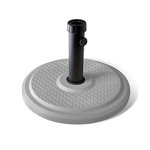 paramondo Sonnenschirm Schirmständer Standard Rund, Silber, Aus Polymerbeton, für Maststärke bis zu Ø 50mm, inkl. Adapterhülsen