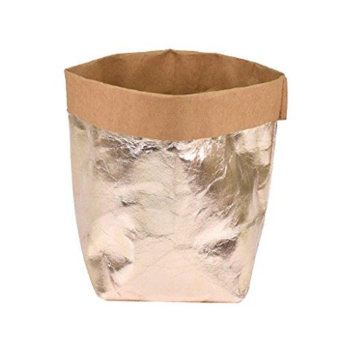 Baoblaze Sac en Papier Kraft Lavable Pots de Fleurs Sac de Rangement DIY Poche de Plante - Doré Rose, 20x20x35cm