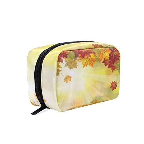 Trousse de maquillage pochette ensoleillée feuille d'automne feuille cosmétique