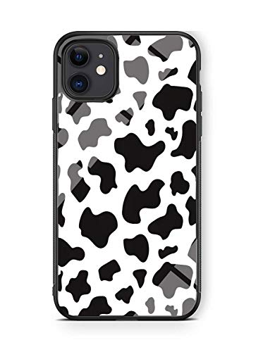 Hng Kiang Hu Art Print Design iPhone 11 Case, Thin Soft Black TPU +Tempered Mirror Material Protective Case for Apple iPhone 11 Cases (Cow Dalmatian (iPhone 11))
