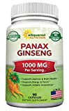 Natural Korean Panax Ginseng (1000mg Max Strength) - 90...