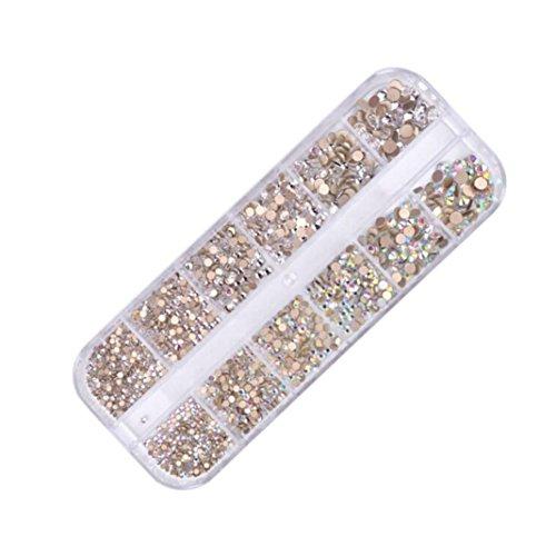 YUYOUG 3D 12 Ongles de Treillis décorent la Longue boîte de Foret étincelante d'emballage ongle d'art de Maquillage (A)