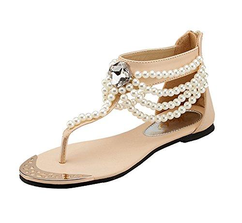 Mujer T-Correa Sandalias De Plana Bohemia Ornamento De Perlas para Zapatos De Playa Albaricoque 35EU