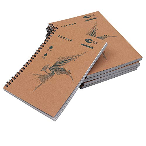 Cahier à Spirales (5 pcs) - A5 Carnet de Notes 60g/m2 Pages lignées 160 Pages (80 feuilles) – Carnets Ecologiques avec Couverture Kraft pour Etudiants, Rédaction, Bureau, Maison