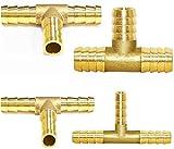 Nothers GZhaizhuan - Conector de manguera de latón, 10 unidades, 8 mm, T/Y/1/7, forma de cruz, para manguera de aire comprimido, conector de manguera de combustible para conexión de manguera