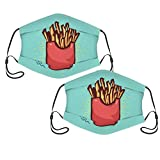 Maschera per il viso in tessuto di patatine fritte, 2 pezzi, lavabile, riutilizzabile, per donne e uomo, regolabile, con filtro.