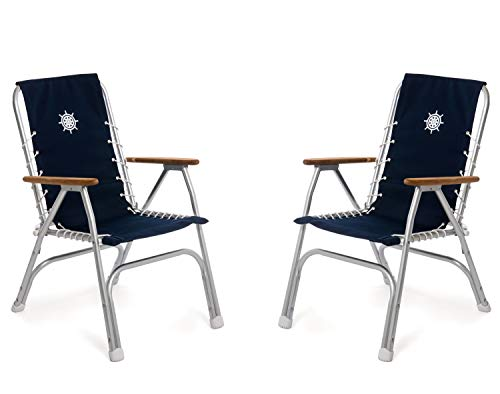 FORMA Marine Set of 2 Navy Blue High Back Deck Chairs