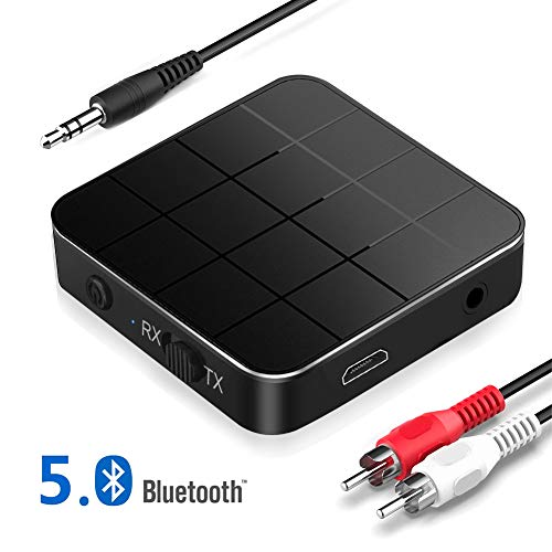 Adaptador Bluetooth 5.0 Receptor Transmisor Bluetooth 2 en 1 Adaptador Audio Bluetooth RCA & 3.5mm AUX, Audio HD Baja Latencia Audio Estéreo para TV, PC, Cascos, Portátil Auriculares