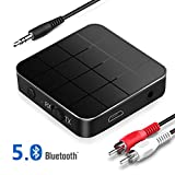 Bluetooth Adapter 5.0 Empfänger Transmitter, 2 in 1 Bluetooth Sender Receiver Low Latency HD Bluetooth Audio Adapter mit RCA & 3.5 mm AUX kompatibel für TV PC Kopfhörer autsprecher Auto Radio
