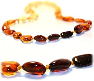 The Art of Cure Baltic Amber Necklace 17 Inch (rainbow bean) - Anti-inflammatory