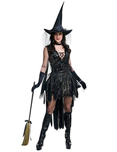 FairOnly - Traje de Bruja mágico para Disfraz de Mujer para Maquillaje, Fiesta, Halloween, Elegante Traje de Rendimiento, As Shown/S, Small