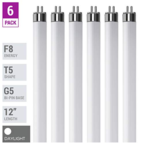 (Pack Of 6) F8T5/D - T5 Fluorescent 6500K Daylight - 8 Watt - 12' Super Long Life Light Bulbs