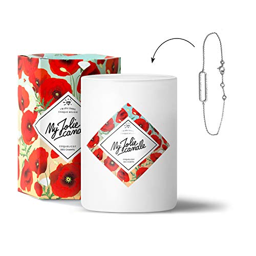MY JOLIE CANDLE - Bougie parfumée avec Bijou Suprise à l'intérieur - Bijou : Bracelet en Argent - Parfum : Coquelicot - Cire Naturelle végétale - 330g - 70h Combustion
