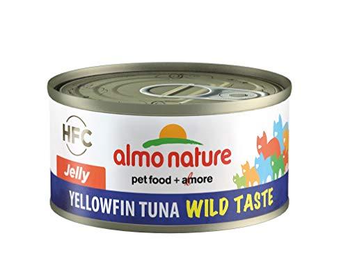 Almo Nature HFC - Cibo umido per gatti Wild Taste Jelly Tonno a pinna gialla, confezione da 24 barattoli da 70 g